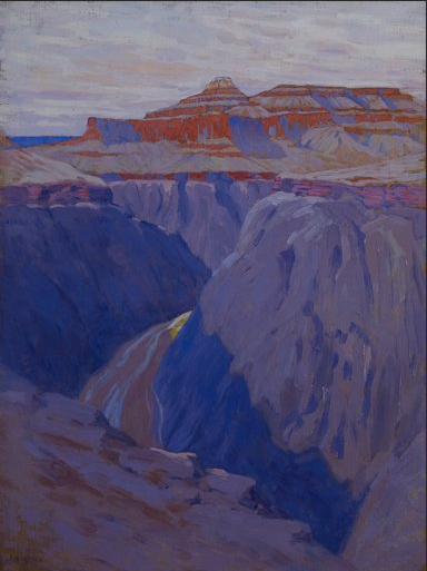 """Mia's own Dow painting, The Destroyer (1911-13) resulted from the same Grand Canyon sojourn as Cosmic Cities in the """"Seeing Nature"""" exhibition."""
