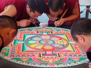 Reed College, Portland, Oregon Description In this image, four monks are nearing the completion of their sand mandala. Department Asian Culture Buddhist Creation Date Text Drepung Loseling Tibetan monks making a mandala at Reed College, Oregon, 2003