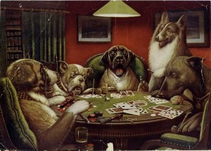 This famous dogs-playing-poker painting is actually one of 16 different images of anthropomorphized dogs created in the early 20th century to advertise cigars. Nine feature dogs around a card table. And no, the MIA doesn't own any of them.