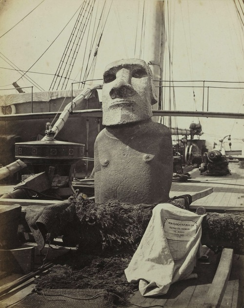 "The statue known as Hoa Hakananai'a (""Stolen or Hidden Friend"") aboard the HMS Topaze in 1868."