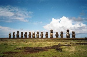 The famed moai of Easter Island, in their natural habitat.