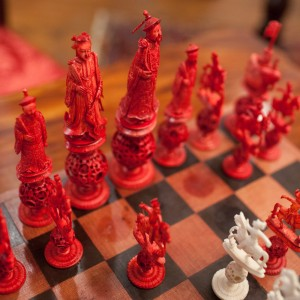 A close-up look at the fanciful chess pieces, made in China and dating to the 18th century.