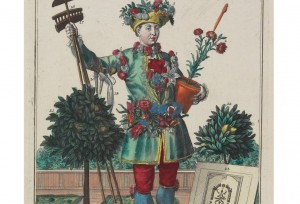 """A Flower Gardener, from Des Manouvriers habilles,"" by Martin Engelbrecht, is a hand-colored engraving from 1735 which suggests that French gardeners plucked one bloom for themselves for every three they cut."