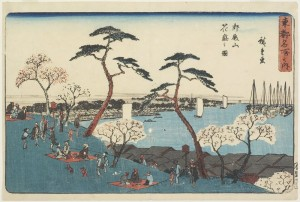"Utagawa Hiroshige's woodblock print of ""Gotenyama Hill in Bloom"" captures the annual ritual of walking among the cherry blossoms in the Shinagawa district of Tokyo."