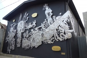 Entang Wiharso's aluminum sculpture at the OHD Museum
