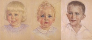 Helen Baxter's handiwork: Kitty Crosby and Ned Dayton as toddlers in 1941; Tad Piper in 1953.