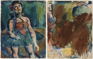Georges Rouault sketched three nudes—thought to be prostitutes—before canceling them out and drawing a squat circus performer (1906) on the opposite side.
