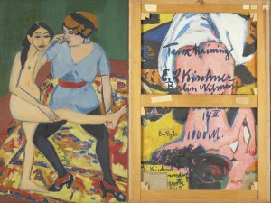 """The backside of Ernst Ludwig Kirchner's """"Dance Training"""" (""""Tanztraining"""") in Gallery 371 conceals a hat-wearing nude from 1910 and a scrawled address."""