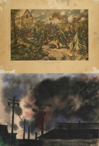 """Joseph Stella drew """"Pittsburgh Factory Scene"""" on the back of """"French Infantry Storming Chateau of Mondement,"""" a commercial lithograph published by P. F. Collier & Son, New York, in 1915 (top)."""