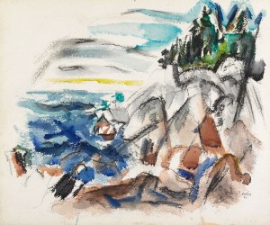 "John Marin, ""The Sea, Maine,"" 1921, watercolor and charcoal, Gift of John and Myrtle Coe 98.269.18"