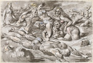 "Reginald Marsh, ""Coney Island Bathers,"" c. 1946, Chinese ink and watercolor Bequest of Felicia Meyer Marsh 82.103.1"
