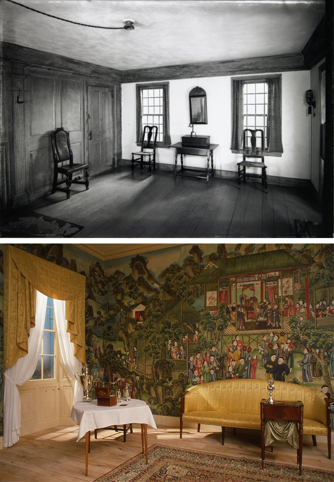 One of the earliest surviving period rooms at the MIA, the Connecticut Room (top), installed in 1929. And one of the most recent, the McFarlane Memorial Room, installed in 1982.