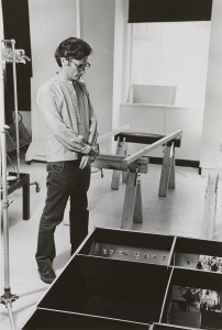 Avedon planning the exhibition in his studio.