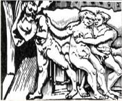 The woodcut conceals this scene of debauchery.