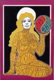 A woman of many words: Artist Wes Wilson's name appears on the figure's breasts in this poster for an exhibition of psychedelic posters that opened in San Francisco on July 17, 1967.