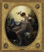 Girodet painted this lampoon of actress Mlle. Lange after she criticized his painting abilities. The satyr and turkey allude to former lovers.