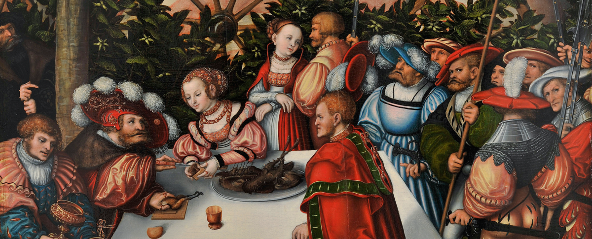 A renaissance scene of a group of people crowded around a table