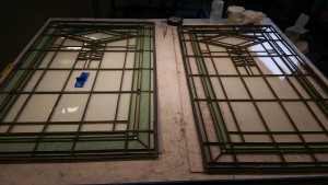 The slightly wider window on the left is a fixed window, while the narrower one at right is a casement window.