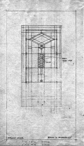 George Elmslie's drawings for the arat glass windows and doors of the house were a guide for Sharretts's firm, not a blueprint. This door sketch gives the artists an idea of the design and colors without needing a full rendering. This photo and photo at top:   William Gray Purcell Papers (N3), Northwest Architectural Archives, University of Minnesota Libraries