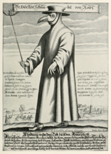 Paul Fürst's satirical engraving of a plague doctor dates to the 1600s and includes a poem suggesting the doctors were in it for the money.