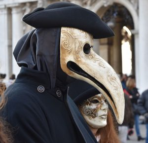 A plague doctor mask at Carnival in Venice.