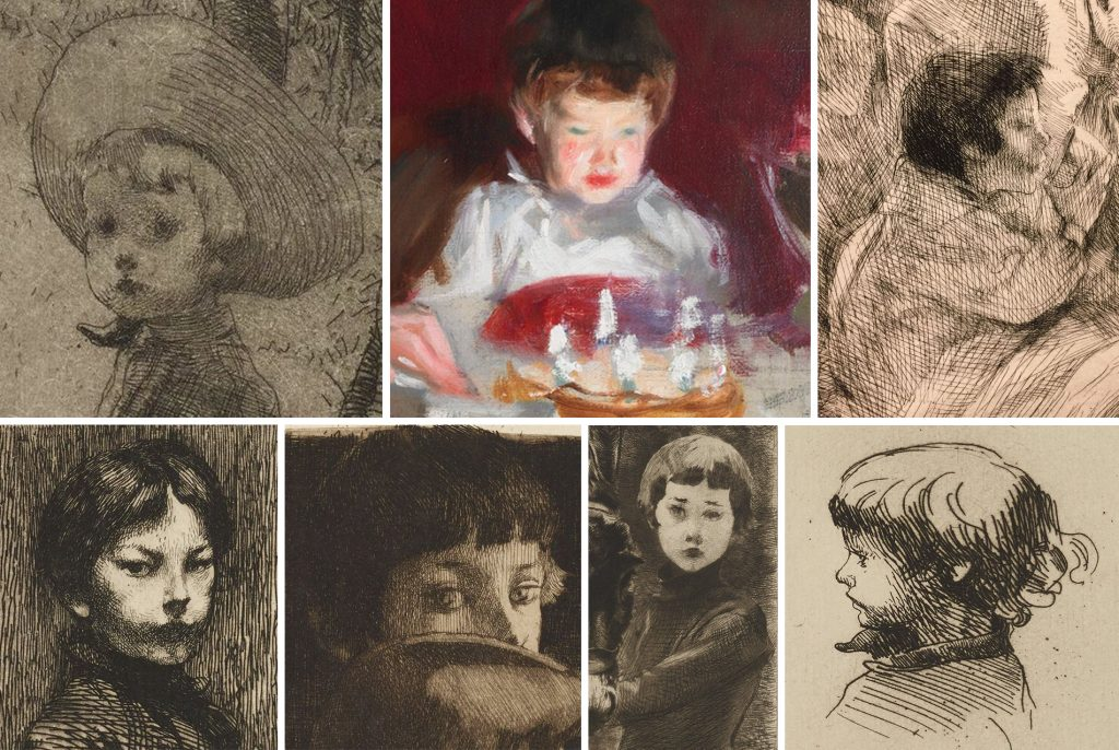 Robert Besnard, growing up in his father's artworks. Clockwise, from age 3 at upper left to age 9 and a half at lower left.