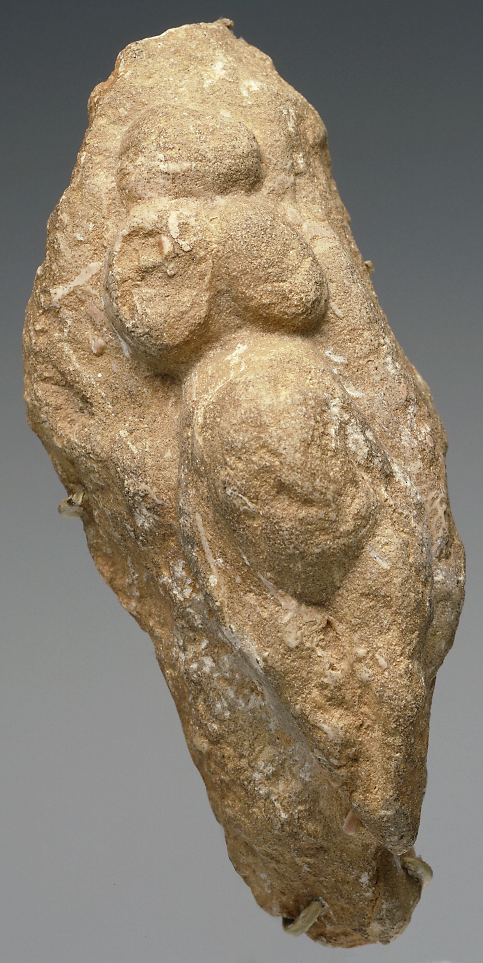 "A small paleolithic figure from Mia's collection. Until recently, such statuettes were referred to as ""Venus figures."""