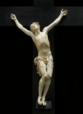 A crucifix carved from an unusually large elephant tusk around 1700, on view in gallery G341.