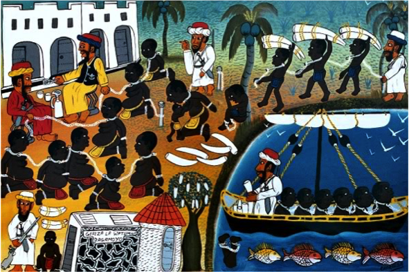 A painting by Mohamedi Wasia Charinda (born 1947, Tanzanian) shows slaves carrying ivory.