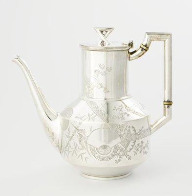 A sterling silver and ivory coffee pot at Mia.