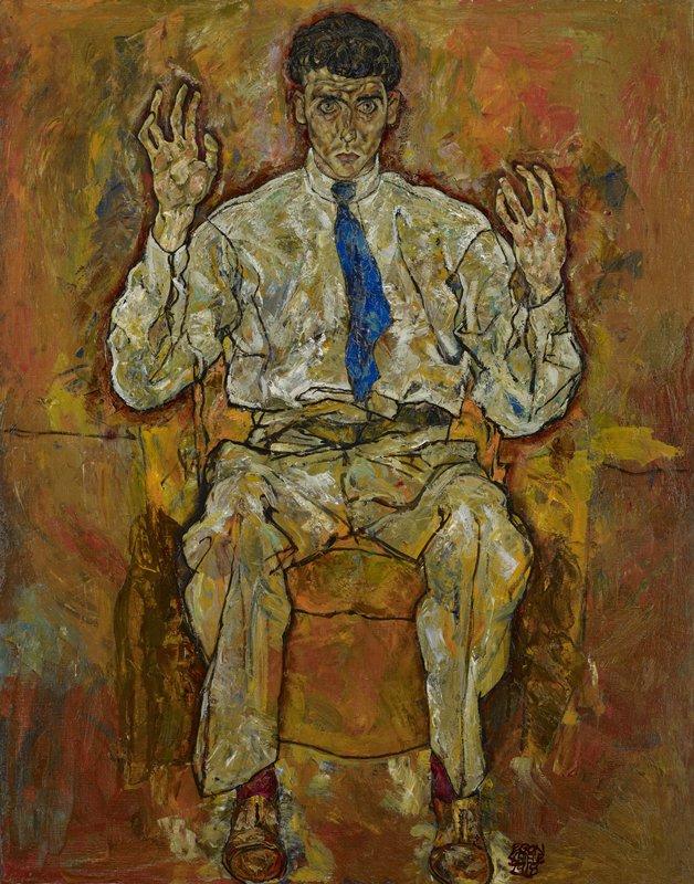 Egon Schiele's portrait of Paris von Gütersloh, painted in 1918, on view at Mia in gallery G377.