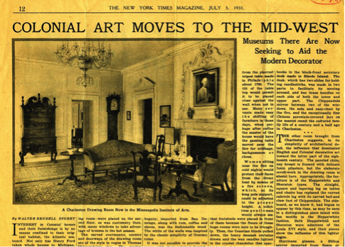 """The newly opened Charleston Dining and Drawings Rooms, 1931. Walter Rendell Storey, """"Colonial Art Moves to the Mid-West,"""" The New York Times, July 5, 1931"""