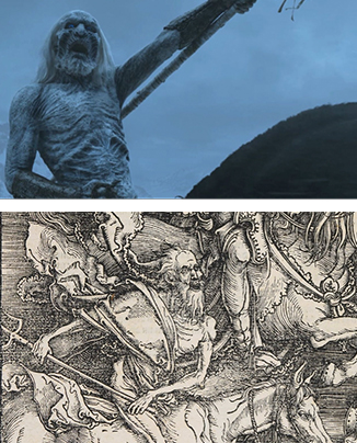 """A White Walker from """"Game of Thrones"""" (above). Dürer's allegory of Death (below)."""