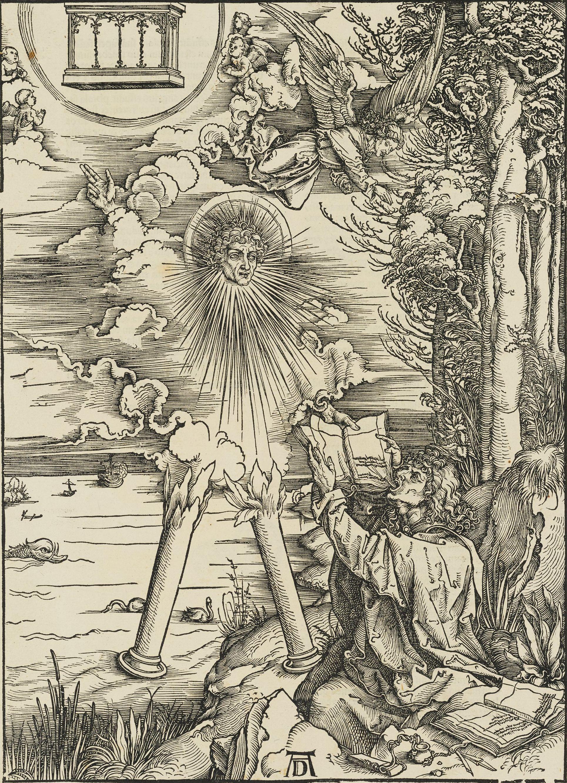 """Albrecht Dürer, """"Saint John Devouring the Book,"""" 1498 (1511 edition), woodcut, plate 9, Gift of Herschel V. Jones P.215"""