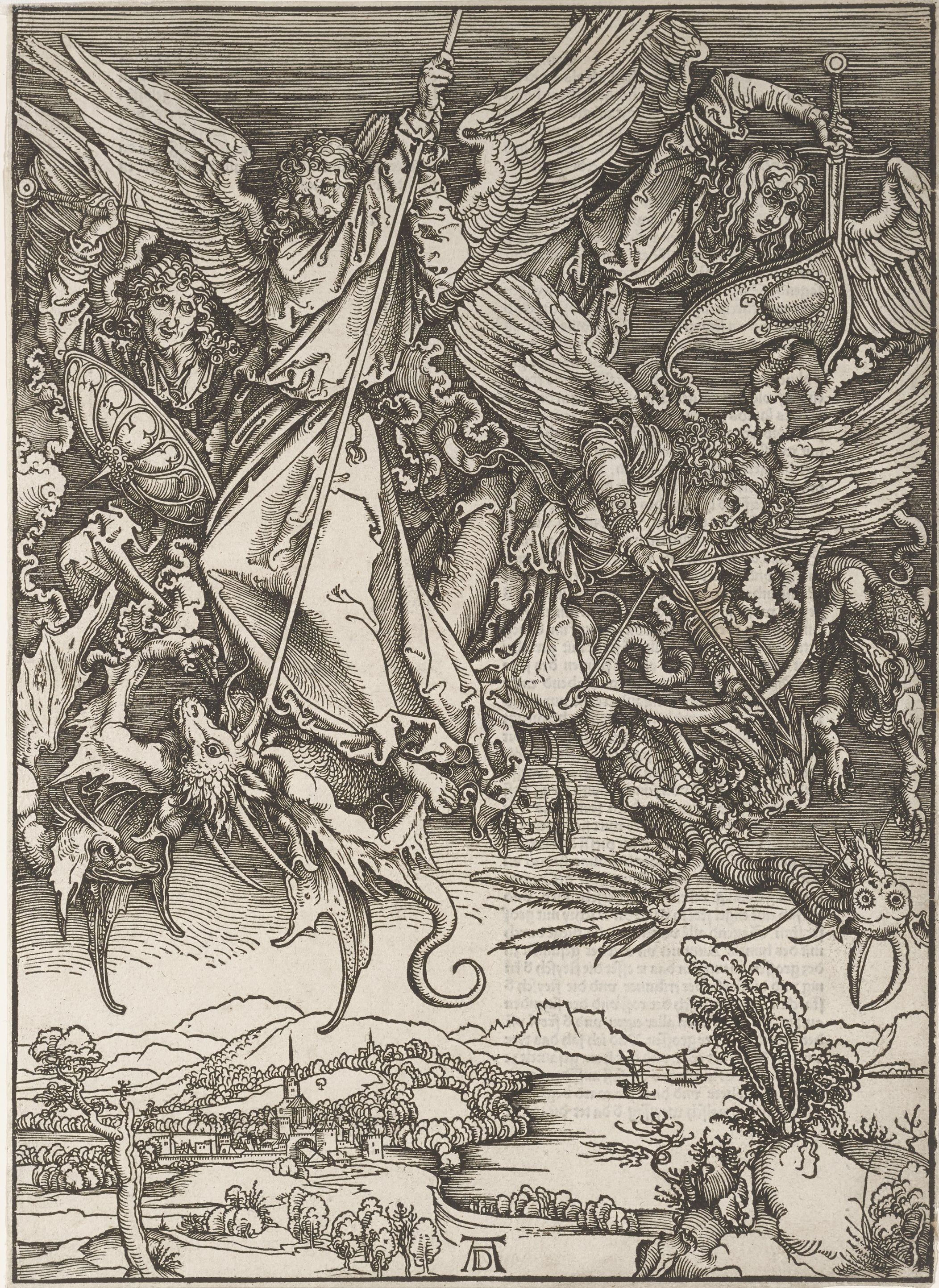 """Albrecht Dürer, """"Saint Michael Fighting the Dragon,"""" 1498, woodcut, plate 10 from the """"Apocalypse,"""" private collection, on loan to Mia L2013.69.201 (Mia P.217 is a later impression)"""