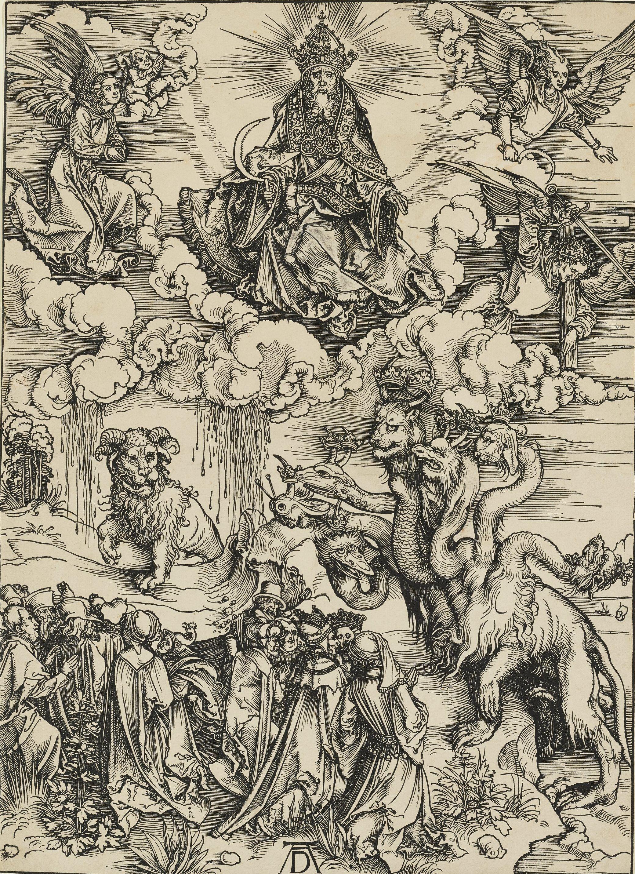 "Albrecht Dürer, ""The Beast with To Horns like a Lamb,"" 1498, woodcut, plate 12 from the ""Apocalypse,"" Bequest of Herschel V. Jones P.68.156"