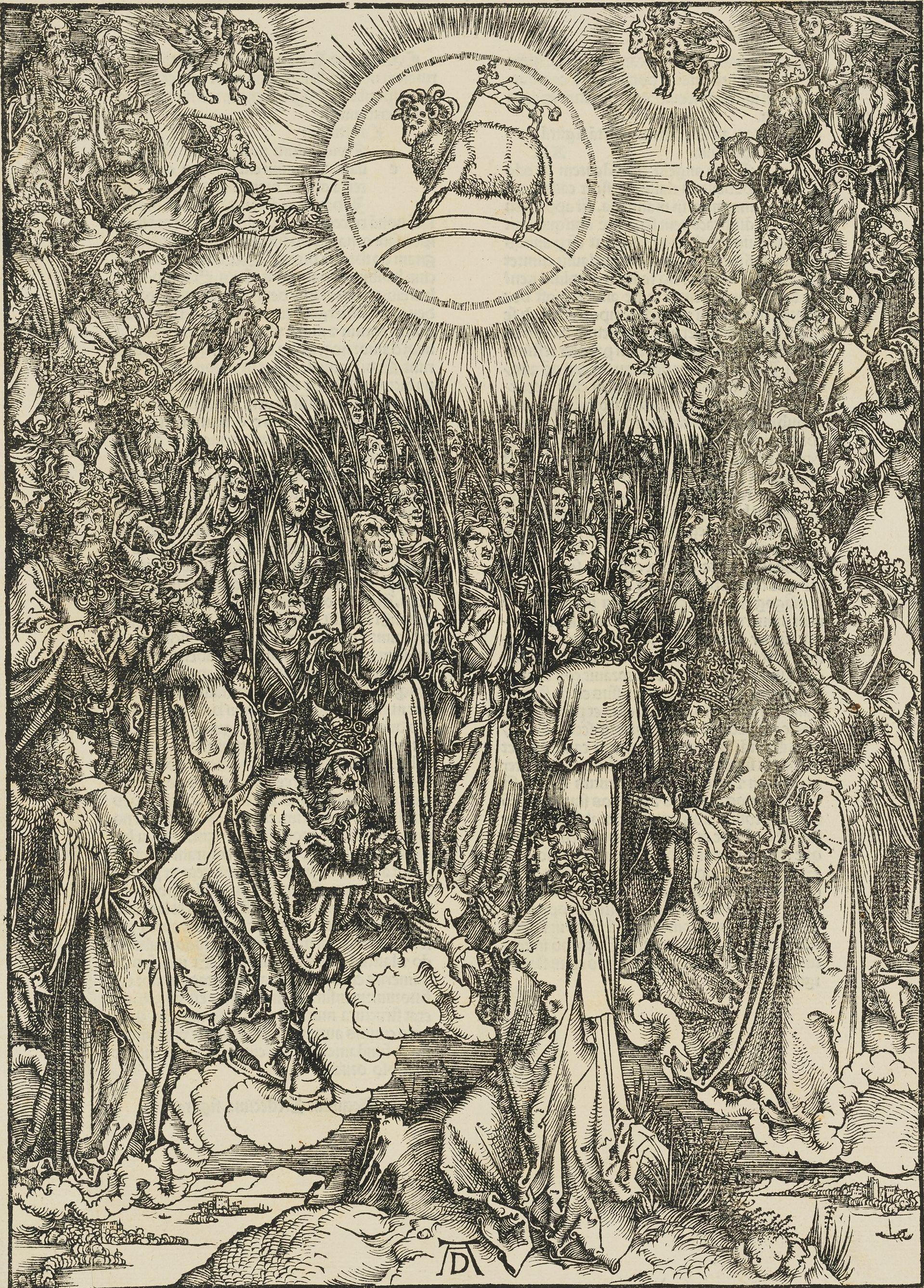 "Albrecht Dürer, ""The Adoration of the Lamb,"" 1498, woodcut, plate 13 from the ""Apocalypse,"" Gift of of Herschel V. Jones P.212"