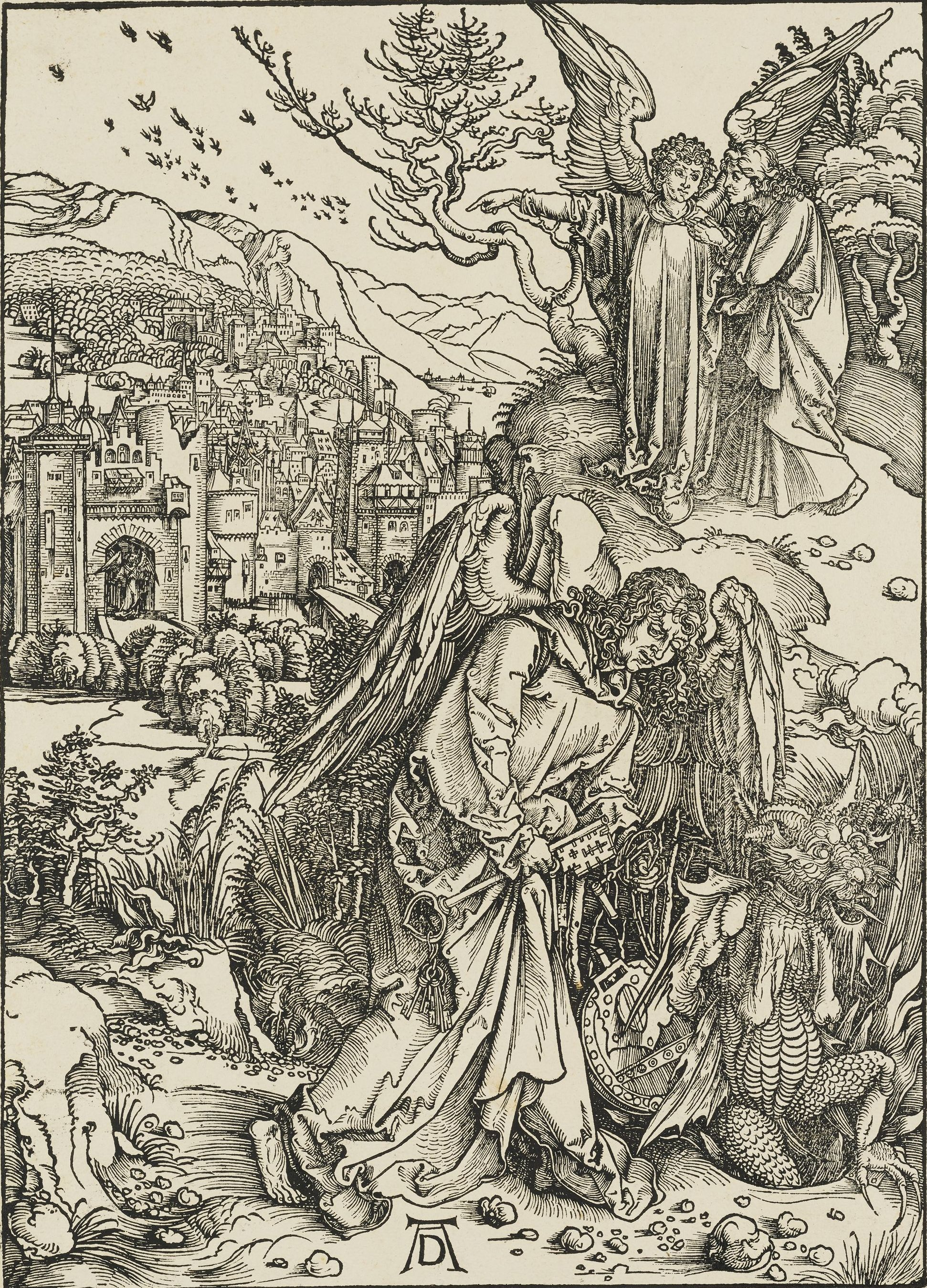 """Albrecht Dürer, """"The Angel with the Key to the Bottomless Pit,"""" 1498 (1511 edition), woodcut, plate 15 from the """"Apocalypse,"""" Gift of of Herschel V. Jones P.220"""