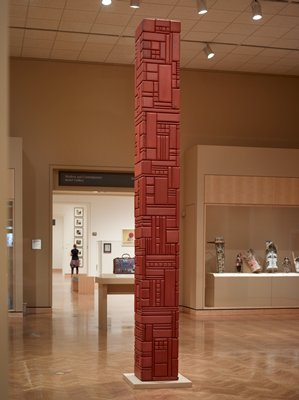 """Red Totem I"" was the first in a series of tall sculptures that Morrison began making in 1977."