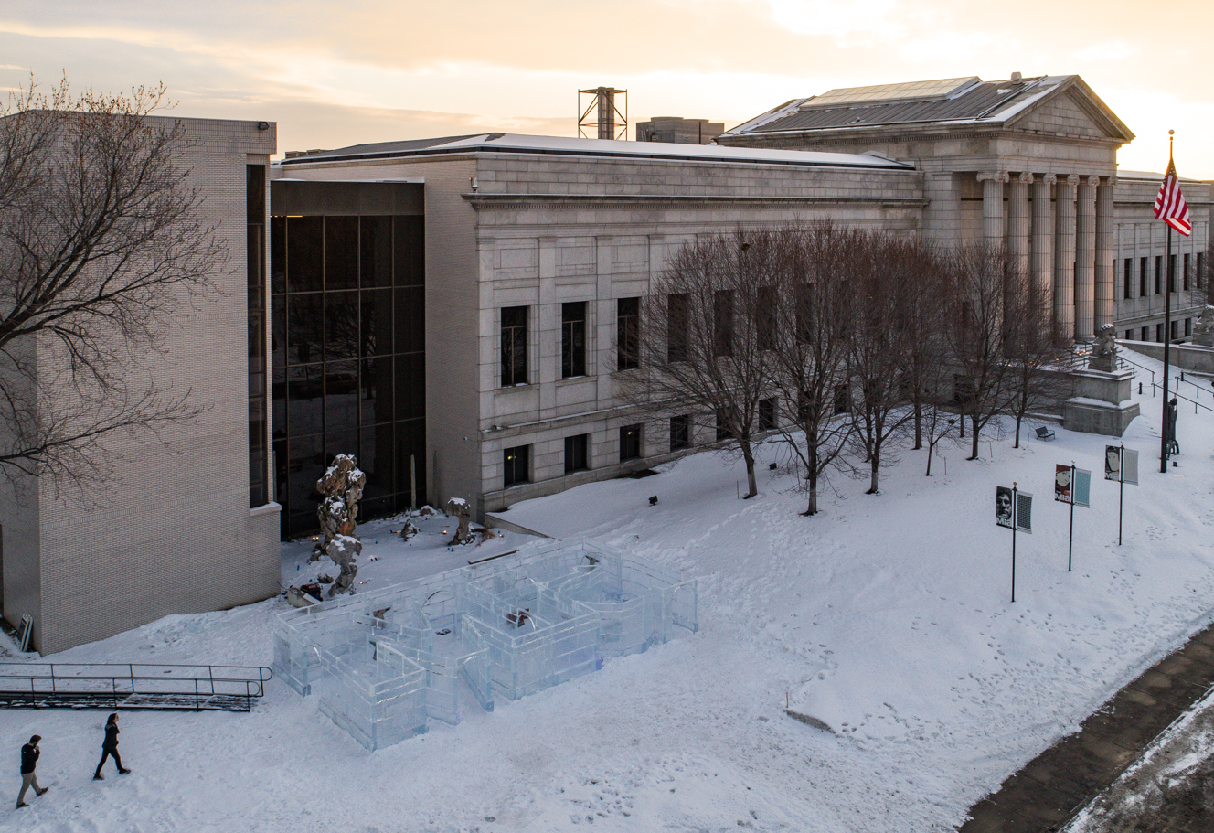 An exterior view of Mia with the ice maze in frame.