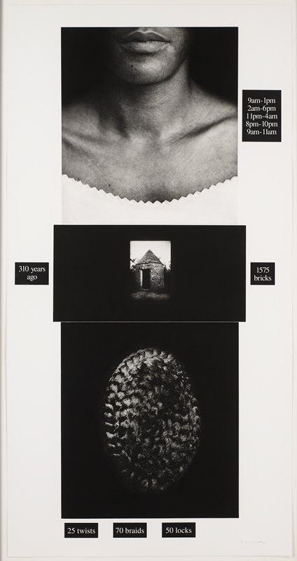"Lorna Simpson (United States, 1960), Publisher: Brooke Alexander Editions, New York; ""Counting,"" 1991, Photogravure and screenprint. Gift of Daniel Avchen, 2005.163, © 1991 Lorna Simpson (http://bit.ly/2EUOe3i)"