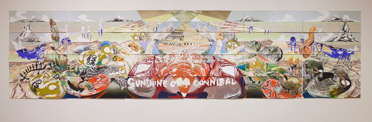 "Andrea Carlson (United States, 1979) ""Sunshine on a Cannibal,"" 2015, Oil, acrylic, ink, colored pencil, and graphite on paper. The Mr. and Mrs. Bernard M. Granum Fund, 2017.29a-x, © Andrea Carlson (http://bit.ly/2FVwPrR)"