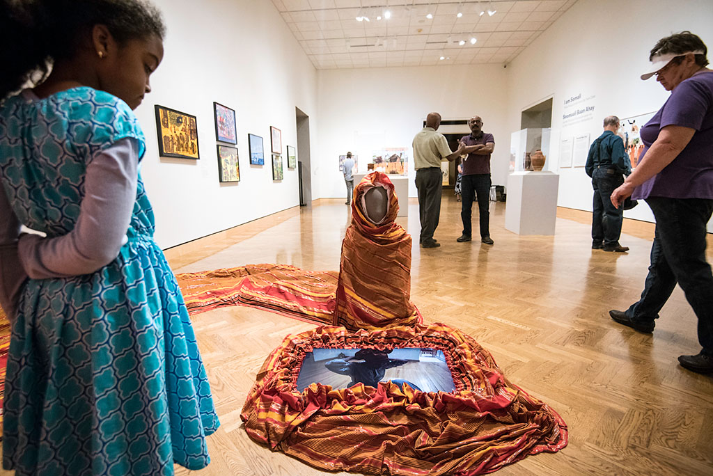 "Gallery view of Ifrah Mansour's installation ""Can I touch It"" in the ""I Am Somali: Three Visual Artists from the Twin Cities"" exhibition at Mia."