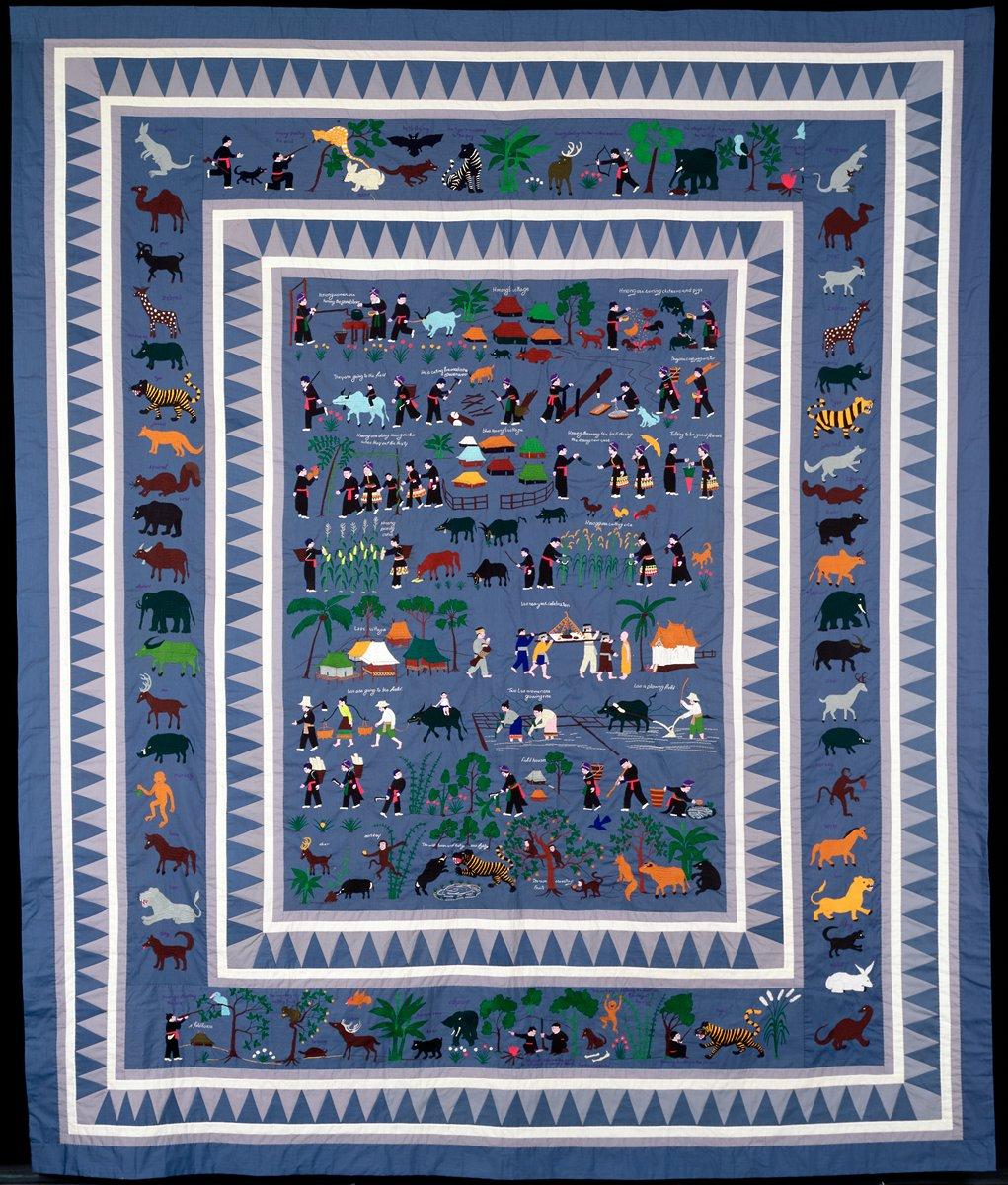 "Ka Zoua Lee's ""Village Story Blanket"" from 1980."