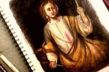 A visitor-drawn portrait of Lucretia holding a tassel and a knife.