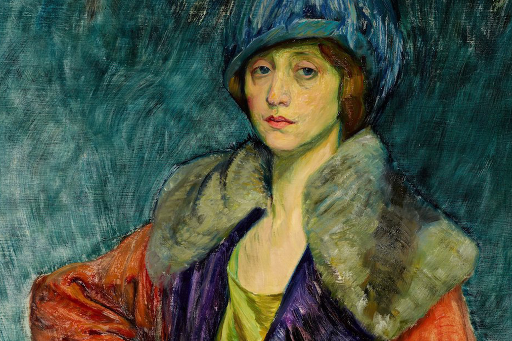 Painted portrait of a woman wearing a blue feather hat, a red coat with fur shoulders, and purple and yellow clothing underneath.