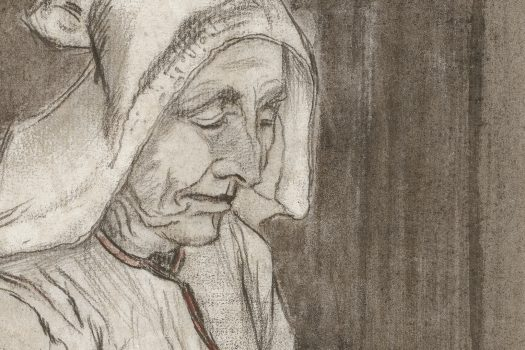 A sketch of an elderly woman looking down, with her head covered by a scarf.