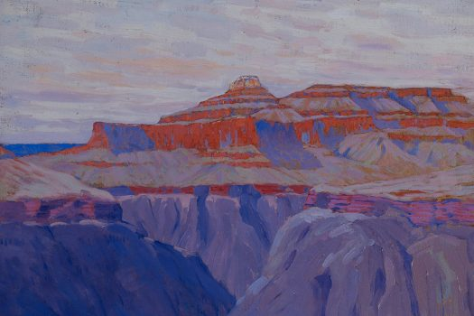 A painting of the Grand Canyon in various shades of blues and orange.