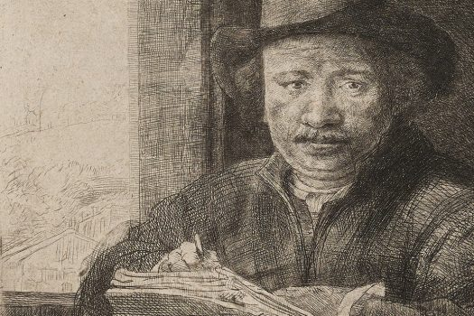 An etching of a man sketching at a window.