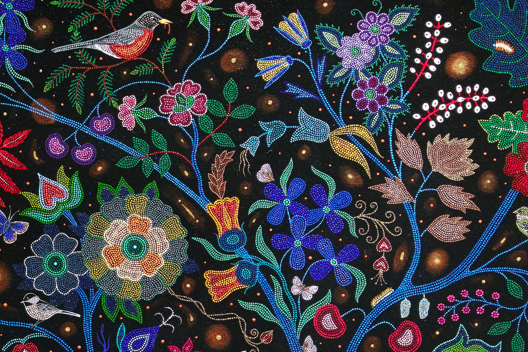 A painting in the style of beadwork, where each dot of paint looks like an individual bead. The painting shows colorful branches, flowers, and a robin sitting in the top left corner.